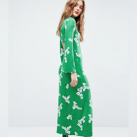 Maxi Tea Dress With Open Back In Green Floral