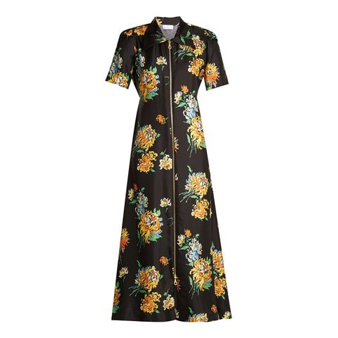 Zip-Front Chrysanthemum-Print Silk-Twill Dress