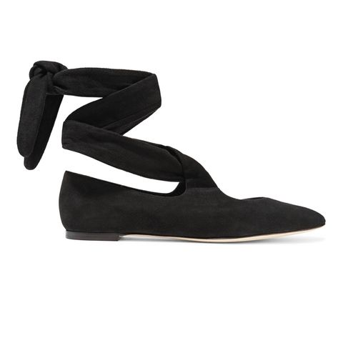 Elodie Suede Lace-Up Ballet Flats