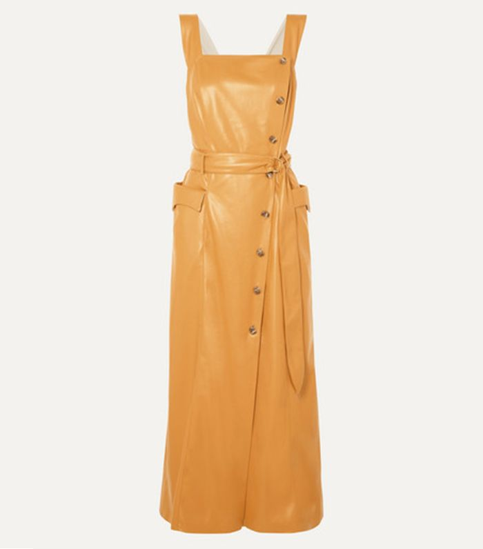 Nanuskha Moun Belted Vegan Leather Wrap-Effect Midi Dress