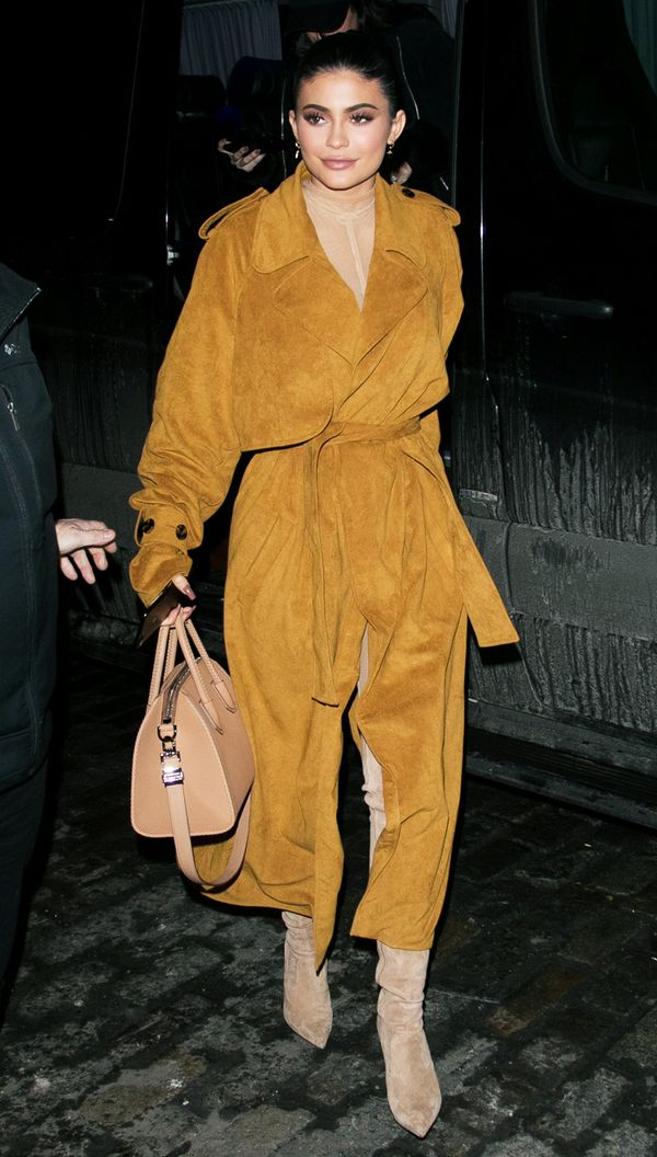 Kylie Jenner celebrity style: suede tan coat
