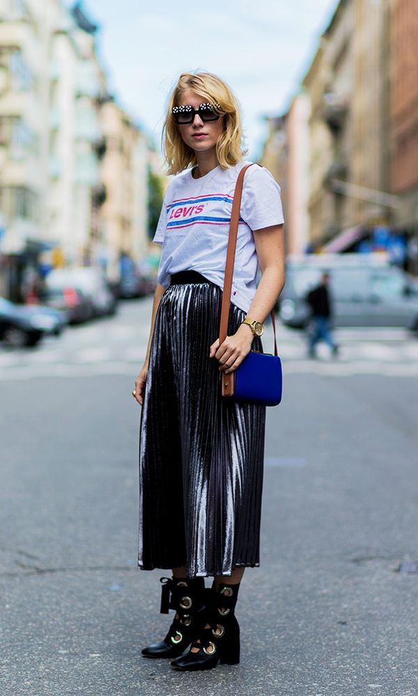 Style Notes: We're just guessing here, but you probably bought a pleated metallic skirt this year (they were everywhere). Instead of pairing it with your trusty Stan Smiths, wear with your...