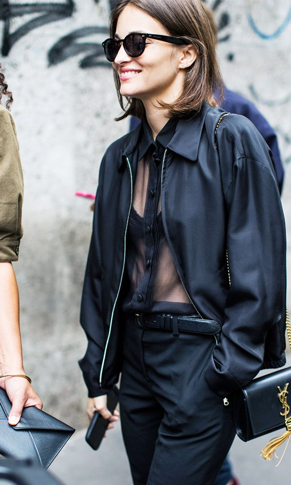 Style Notes: If in doubt, a little bit of sheer fabric can go a long way. Instead of placing a modest cami underneath that blouse you have, just go for a bra. Well, it is New Year's Eve.