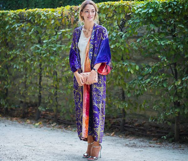 Style Notes: Wearing your dressing gown is totally acceptable these days. Simply throw your satin or silk version over your jeans, tee, and heels and you're good to go.
