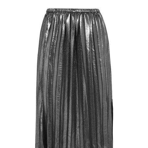 Madlen Pleated Lamé Skirt