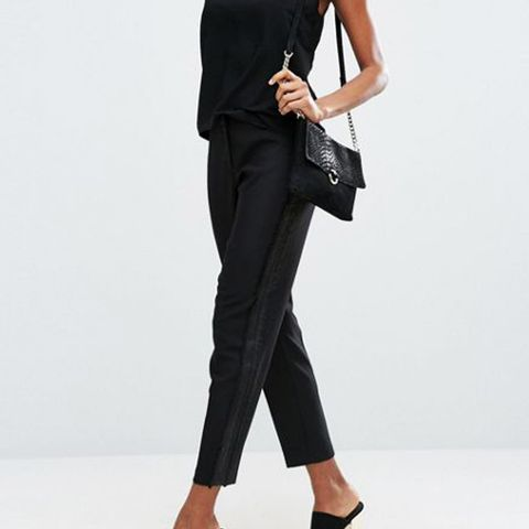 Tux Cigarette Trousers With Sheer Fringe Detail