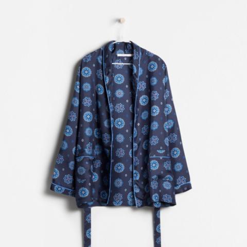 Silk Print Kimono Dressing Gown