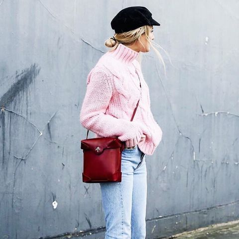 winter outfit ideas: Ganni pink jumper