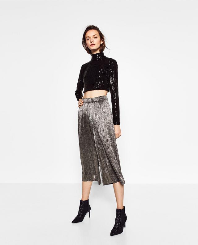 Zara Cropped Sequin Top