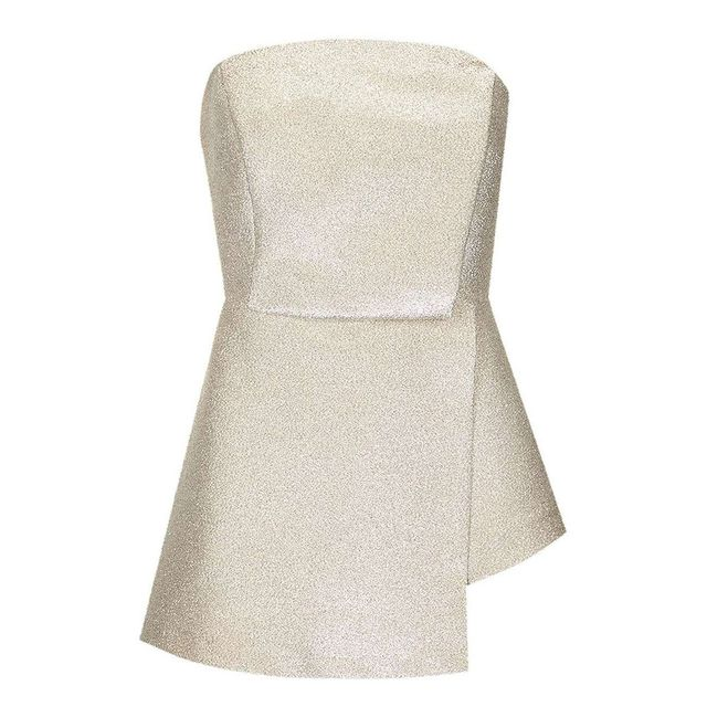 Topshop Structured Metallic Strapless Top
