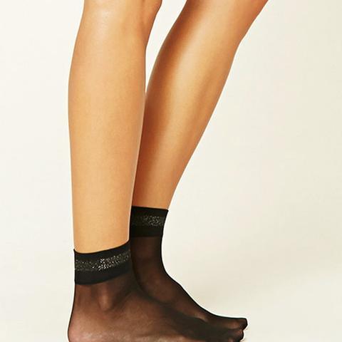 Metallic-Trimmed Ankle Socks
