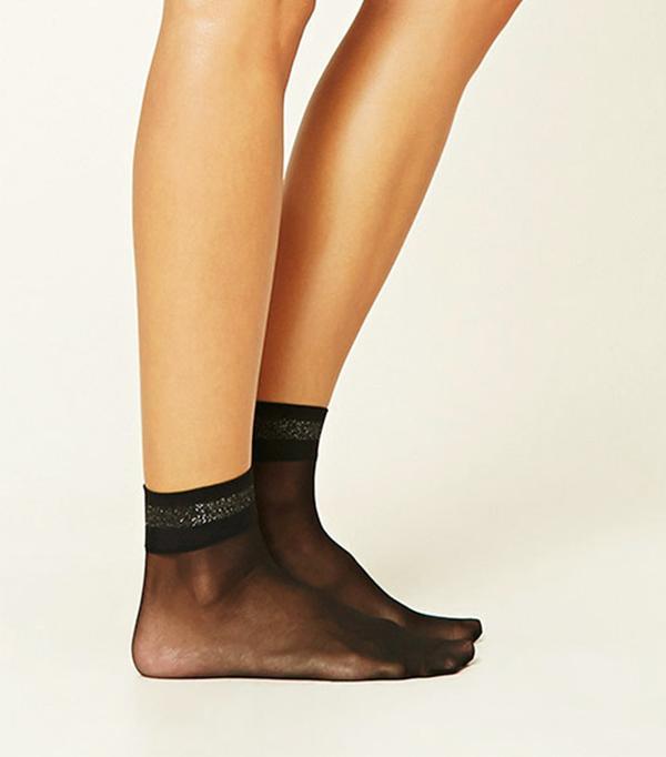 Forever 21 Metallic-Trimmed Ankle Socks
