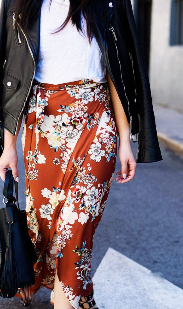 Rust-colored floral Zara skirt, white tee, and leather jacket on Pinterest