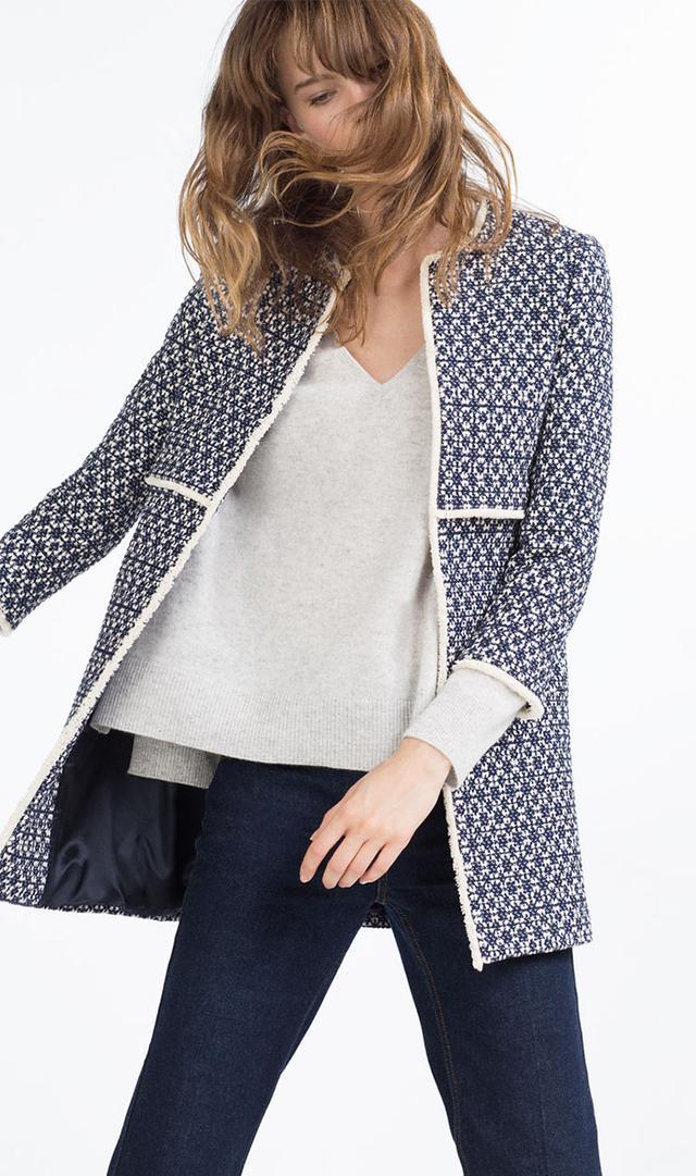 Blogger Alice Frances tracks sitings of popular blue Zara coat.