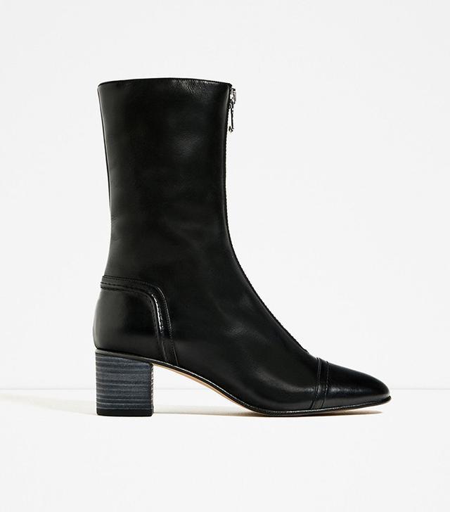 Zara Medium Heel Leather Zipped Ankle Boot