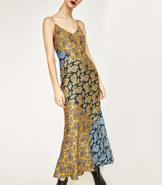 Zara Long Studio Paisley Patchwork Slip Dress