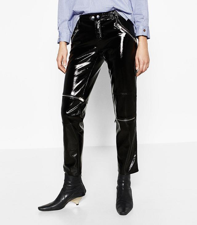 Zara Patent Finish Biker Trousers