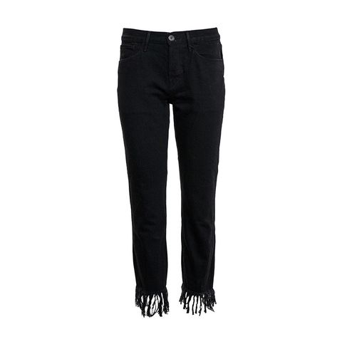 Black Fringe Crop Jeans