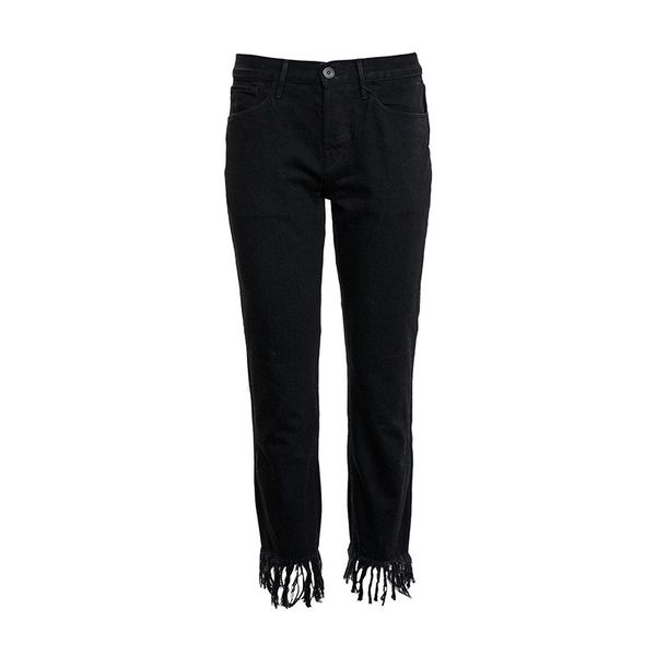 3x1 Black Fringe Crop Jeans