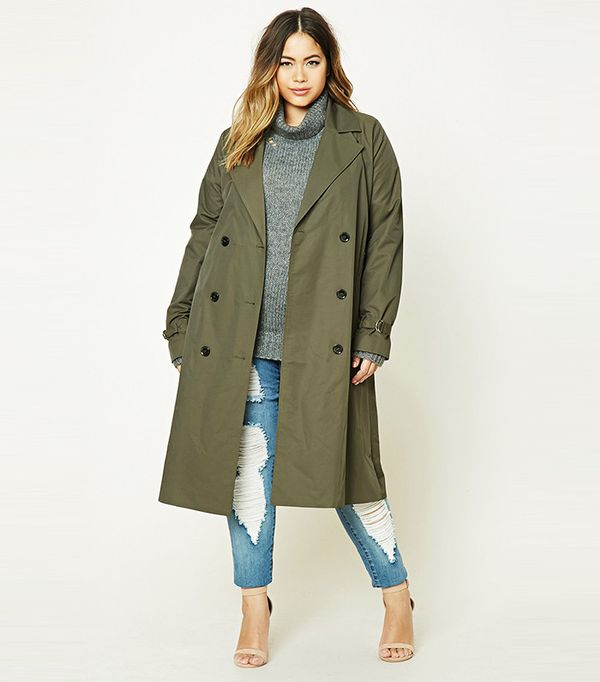Forever 21 Plus Size Longline Trench Coat