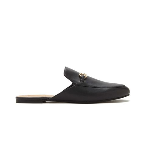 Faux Leather Loafer Slides