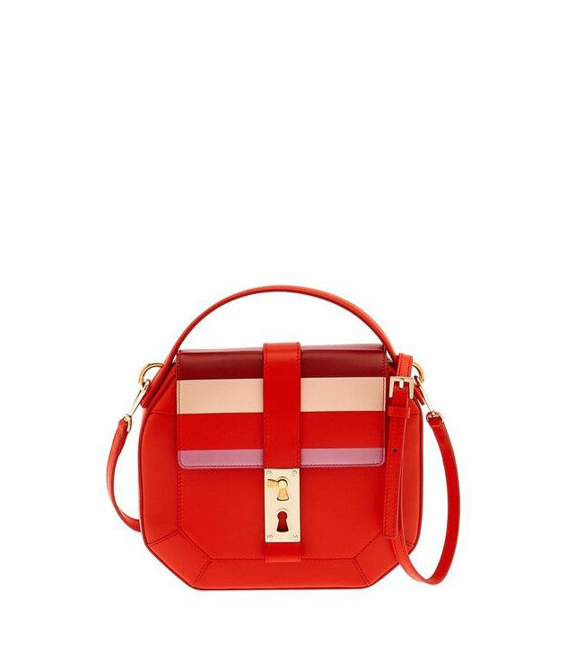 Tina Criag For Gianfranco Lotti Otto Medium Striped Leather Shoulder Bag