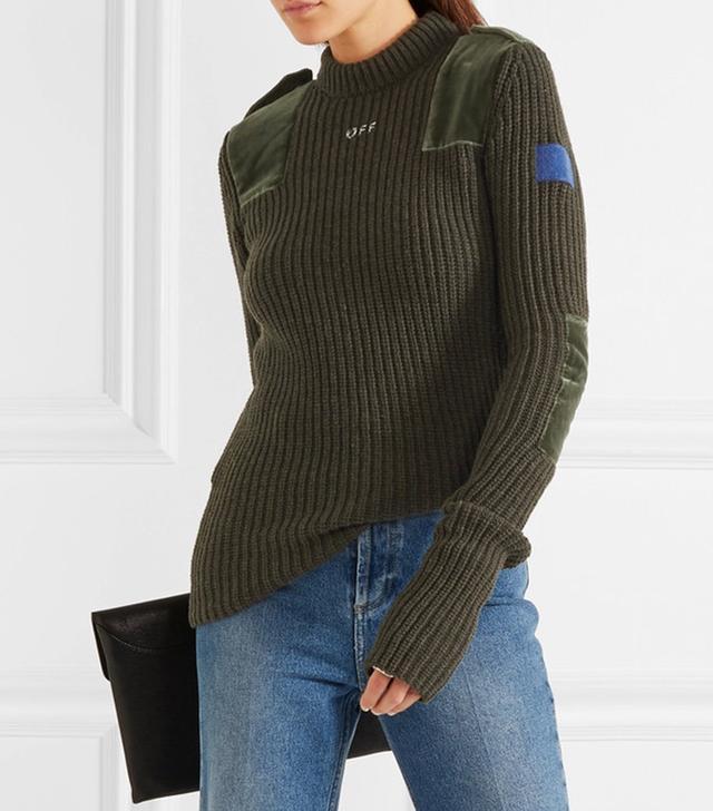 Off-White Velvet Paneled Wool Sweater