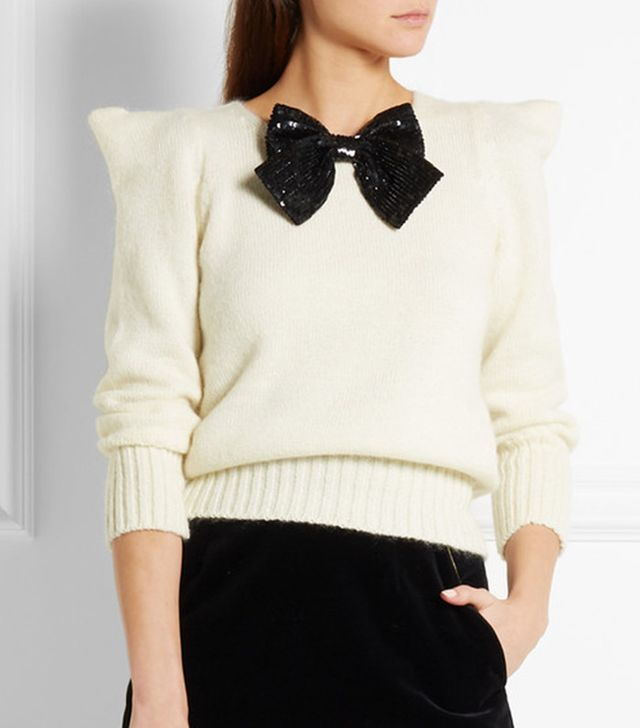 Saint Laurent Sequin Bow-Embellished Sweater
