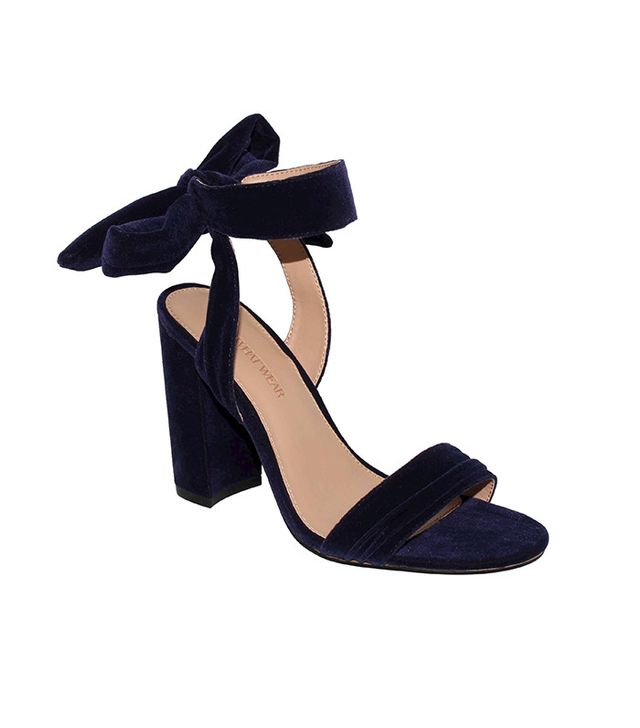 Who What Wear Michaela Velvet Ankle Tie Block Heels