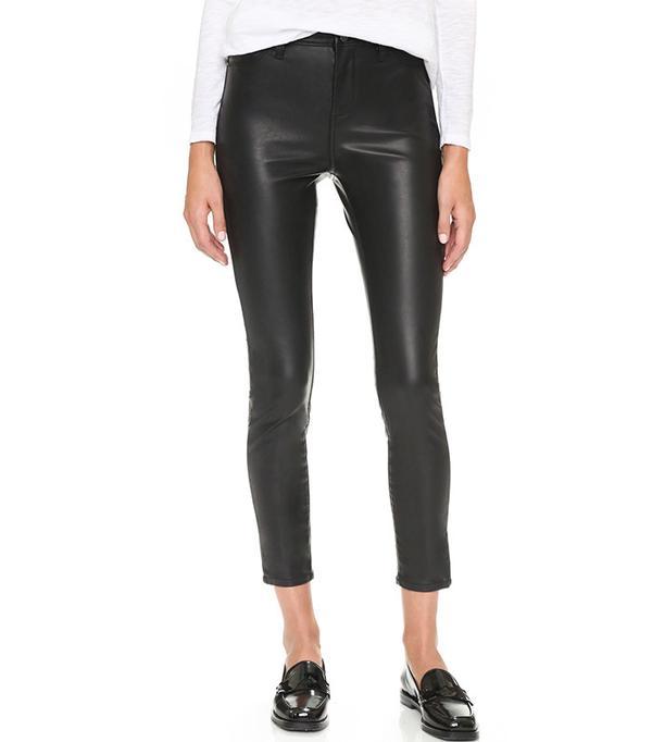 Black denim the principle mid rise vegan leather skinny pants