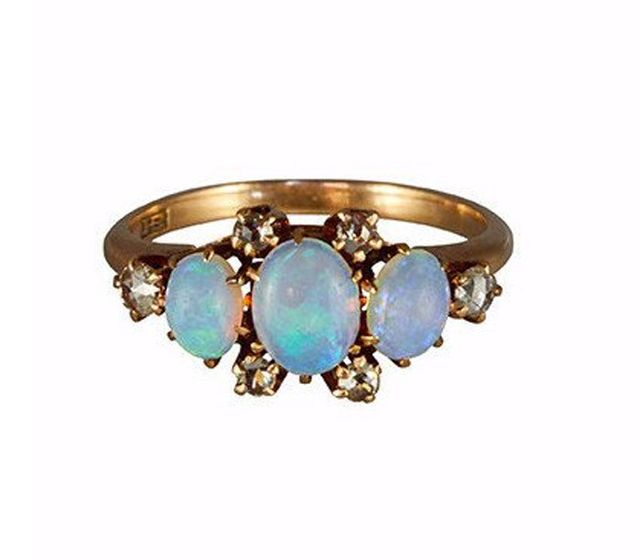 Metier Antique Victorian 14k Rose Gold Triple Opal and Six Rosecut Diamond Ring