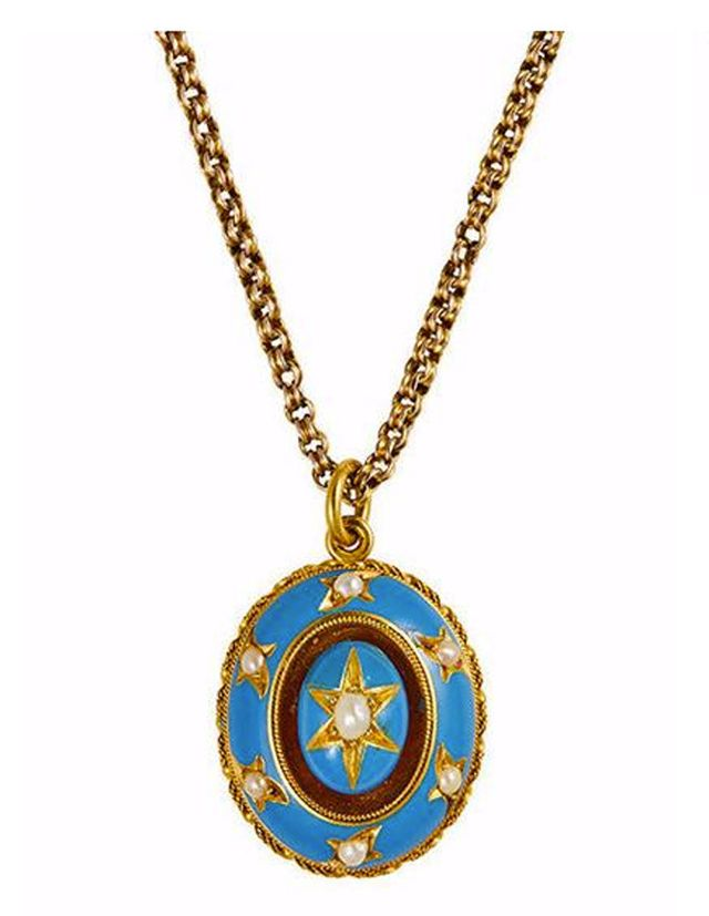 Metier Antique Victorian Blue Enamel, Gold and Pearl Locket Pendant