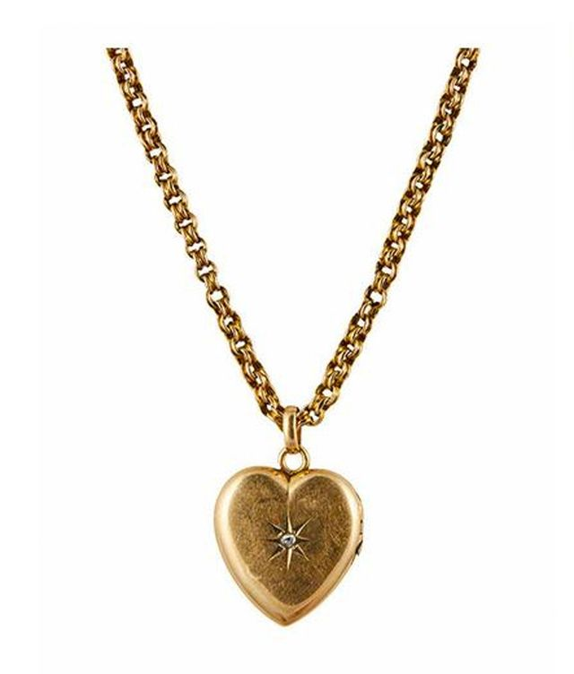 Metier Antique Victorian 10k Rose Gold Heart Locket with Diamond