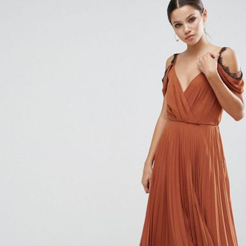 Lace Trim Pleated Midi Skater Dress