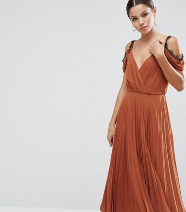 ASOS Lace Trim Pleated Midi Skater Dress
