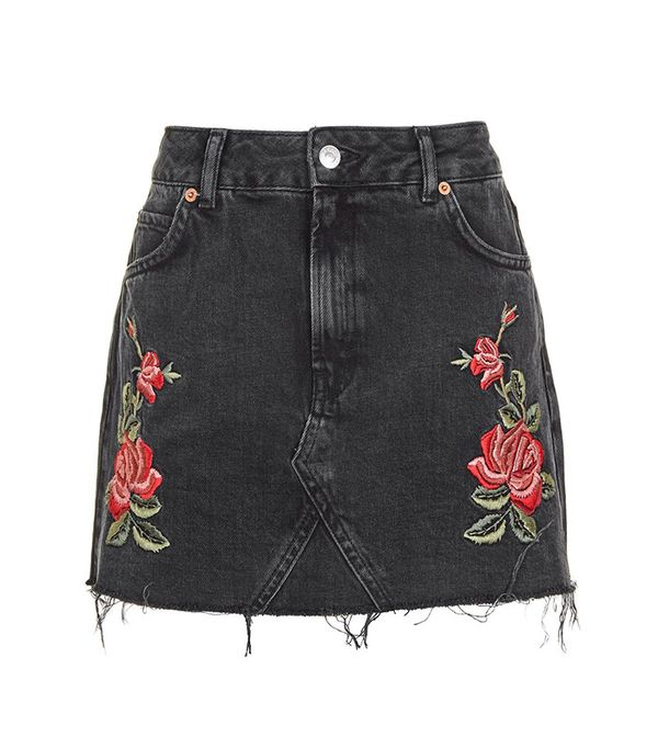 Topshop Rose Embroidered Skirt