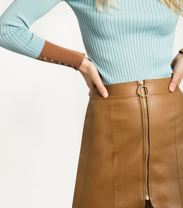 Pixie Market Brown Leather Ring Circle Zip Skirt