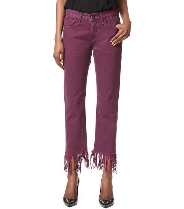 3x1 WM3 Crop Fringe Jeans in Mulberry
