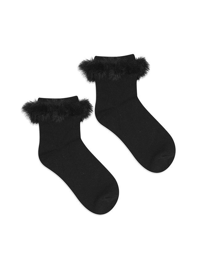 Topshop Fur Trim Ankle Socks