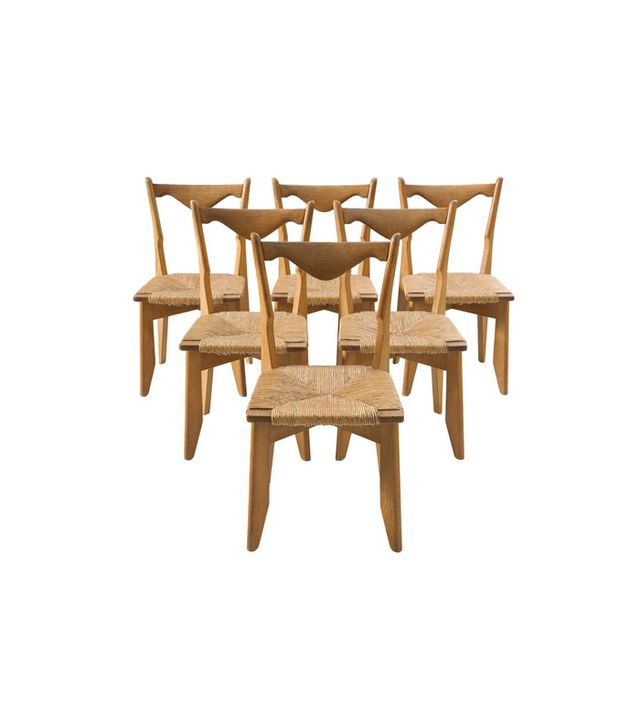 Guillerme & Chambron Oak and Woven Dining Chairs, Set of 6