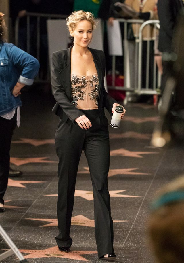 Jennifer Lawrence suit and corset