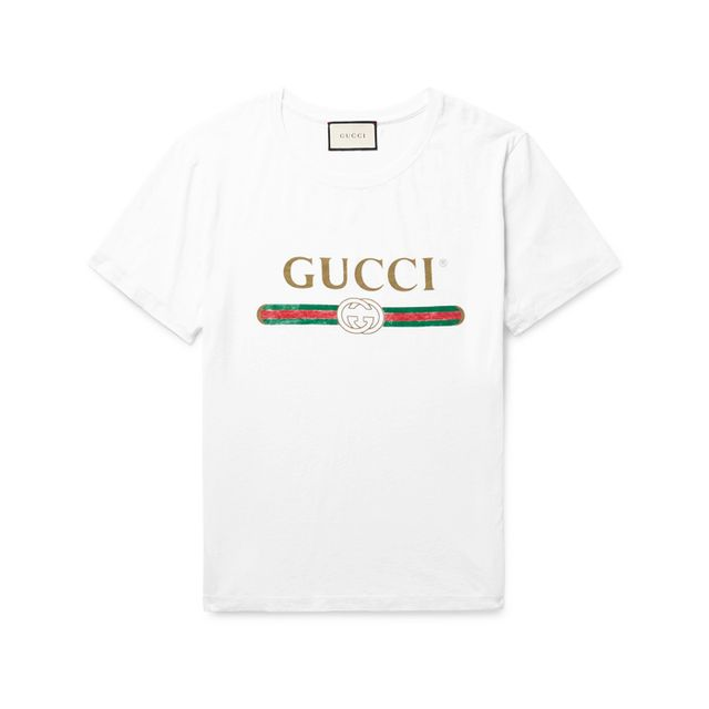 Gucci Distressed Printed Cotton-Jersey T-Shirt