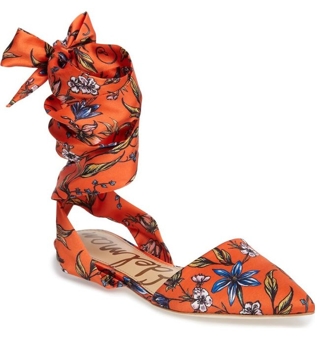 Sam Edelman Brandie Lace-Up Flats in Orange Botanical Print