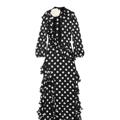 Ruffled Printed Silk-Charmeuse Gown