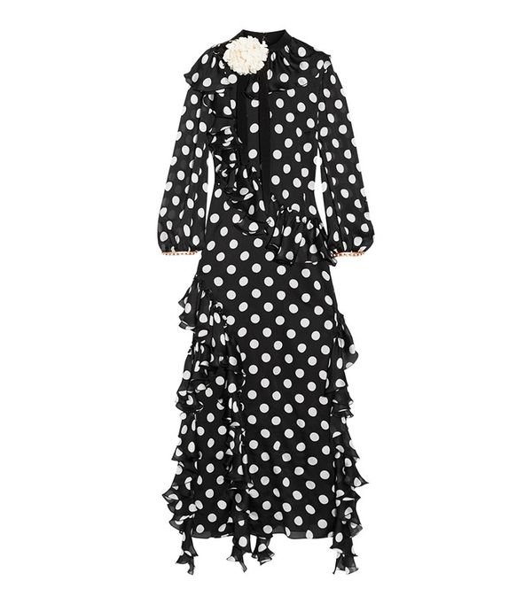 Gucci Ruffled Printed Silk-Charmeuse Gown
