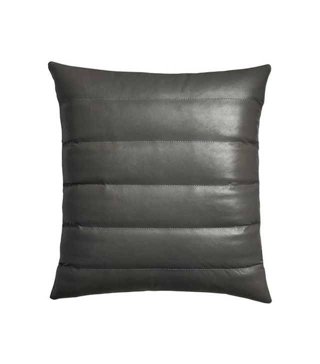 CB2 Izzy Black Leather Pillow