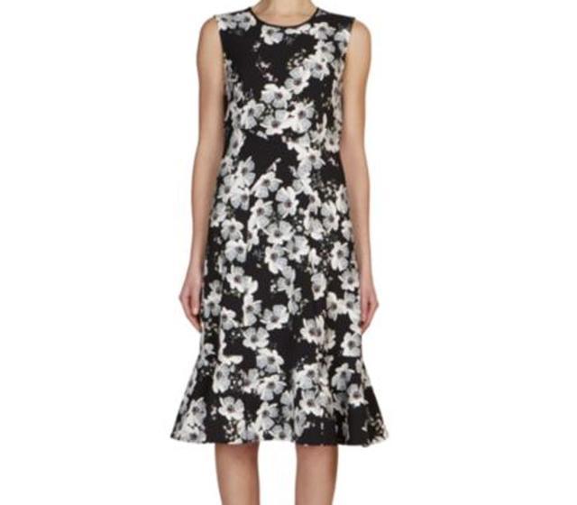 Erdem Jana Paneled Floral Crepe Dress