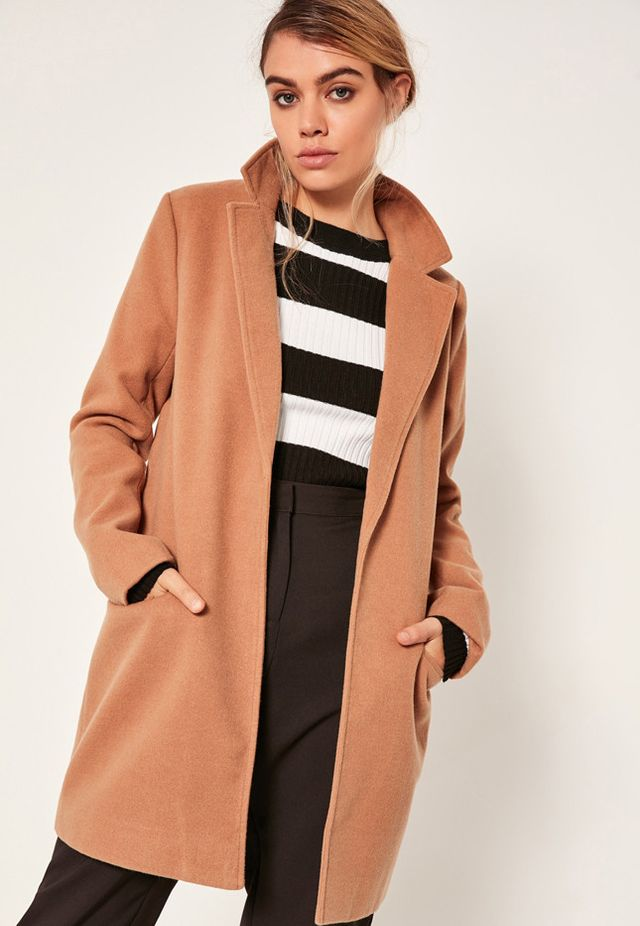 Missguided Wool Camel Coat