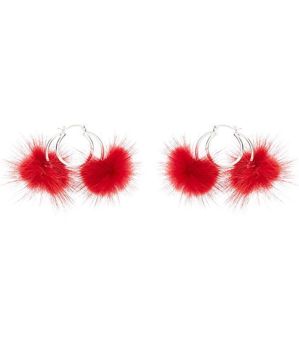 CHRISHABANA for Opening Ceremony Double Long Hair Pom Pom Hoop Earrings