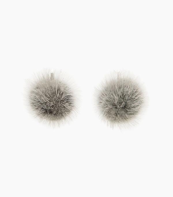 Tuleste Mink Pom Pom Earrings in Grey